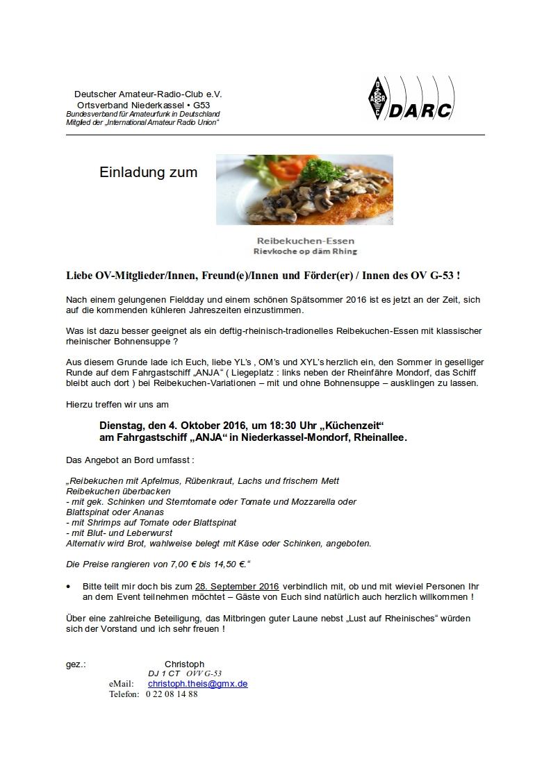 einladung reibekuchen-essen 2016, Einladungen